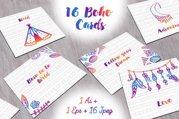 16 Boho cards by Alla_Ri_Shop on @creativemarket