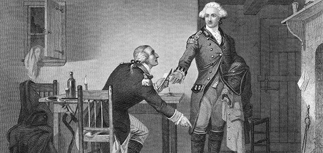 Benedict Arnold, shown on the left concealing his plans in John André's boot, has become synonymous with treason but before he betrayed Amer...