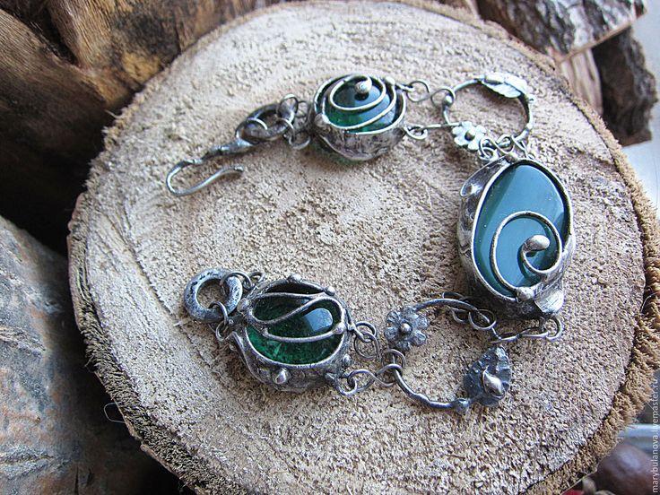 Купить Браслет из зелёного стекла, агата, олова и стали. - тиффани, оловянная свадьба, для жены, стекло