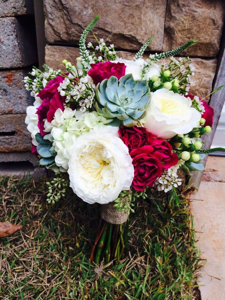 cranberry bouquet | succulent and garden rose bouquet | succulent bouquet | rustic bouquet | meridian ms wedding flowers
