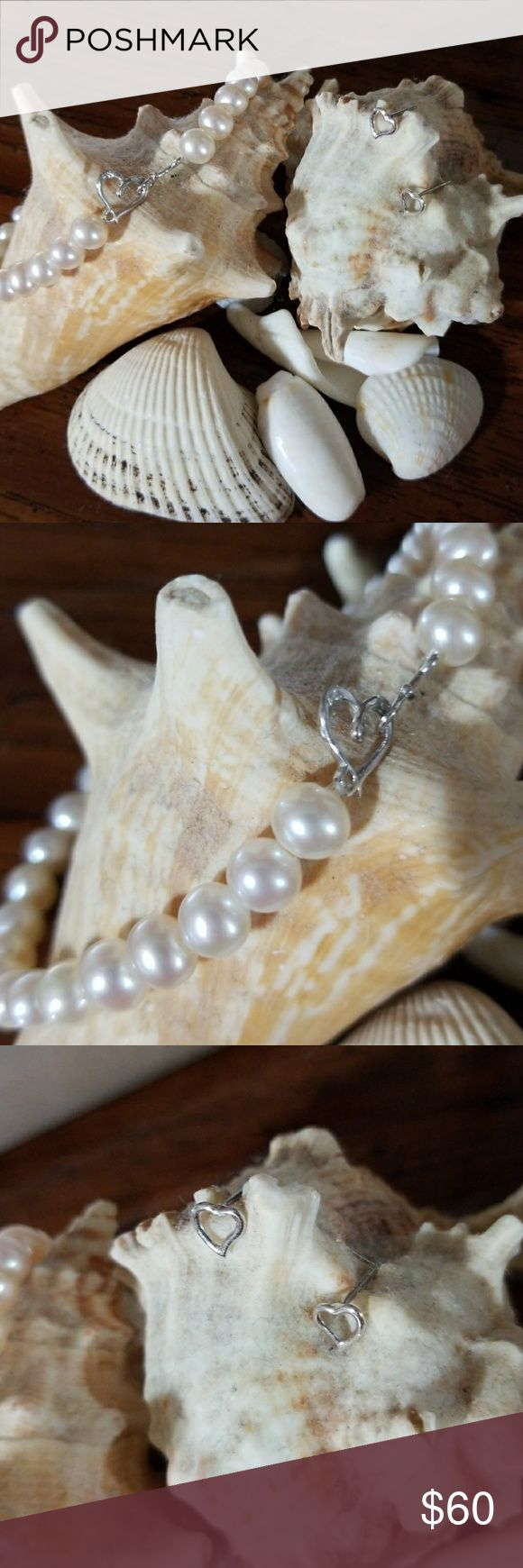 Pearls &  Hearts Beautiful fresh water pearl braclet with Sterling silver heart clasp ( Pangoda) Mini Stirling silver heart earrings (Pandora) Just adorable Great Valentines gift piercing pagoda Jewelry Bracelets
