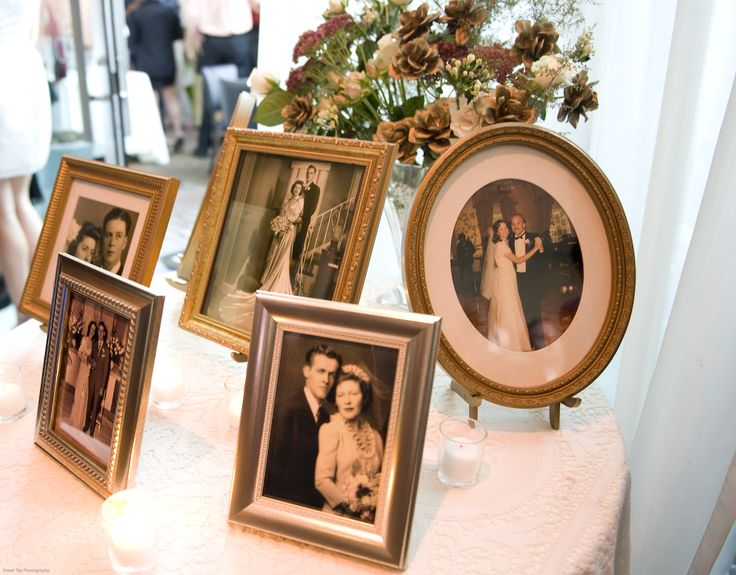 Displaying Old Family Wedding Photos At Reception Club