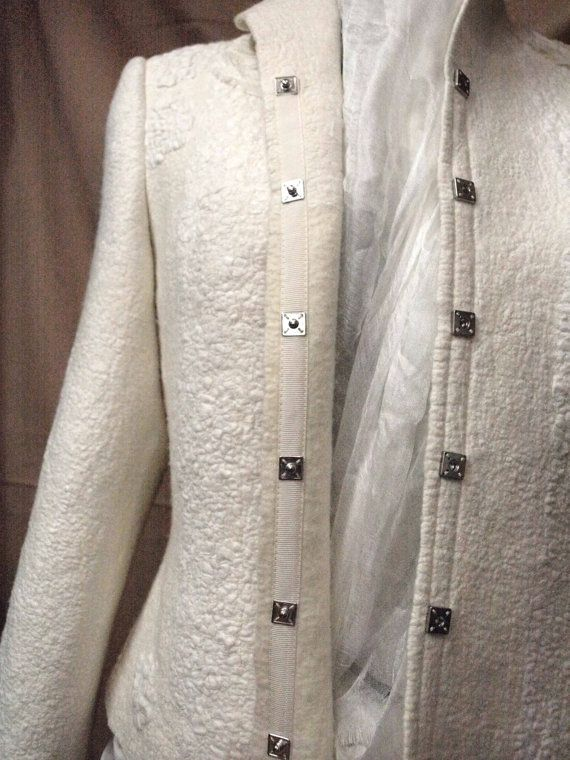 Jacket Ivory / White / Wedding / White / felted by TatiLubav