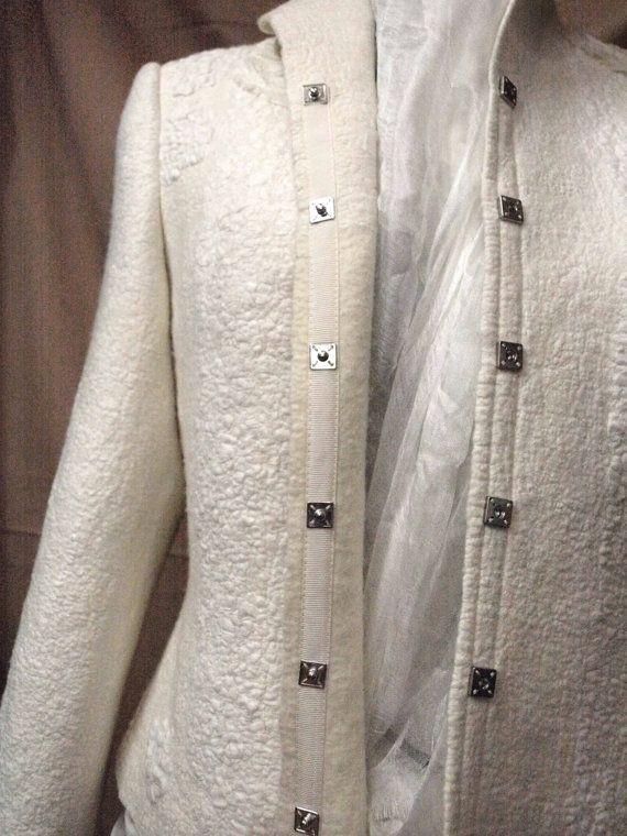 Jacket Ivory / White / Wedding / White / felted by TatiLubav