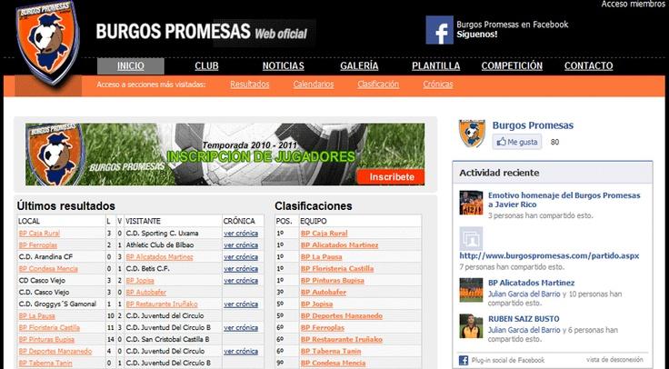 Página web de club de fútbol Burgos Promesas