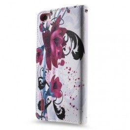 Huawei Honor 6 violetit kukat puhelinlompakko..