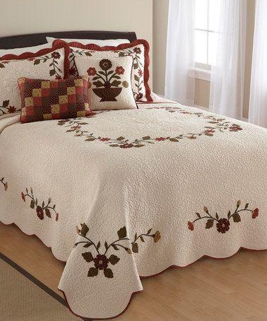 Look at this #zulilyfind! Cream & Red Embellished Sheyenne Quilt #zulilyfinds