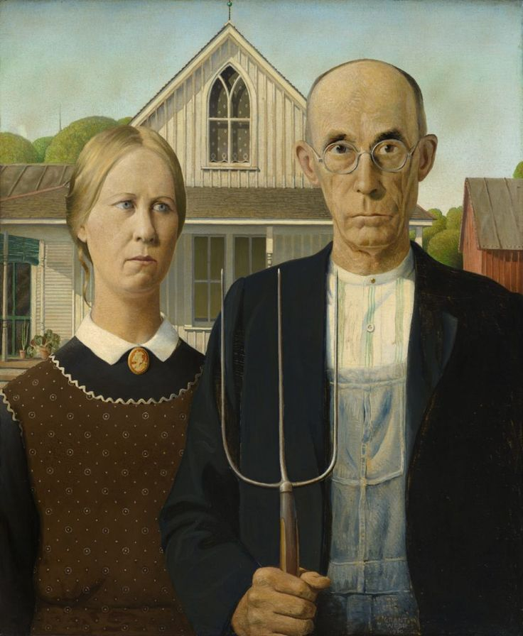 Grant Wood, American Gothic (1930). Courtesy of the Art Institute of Chicago.