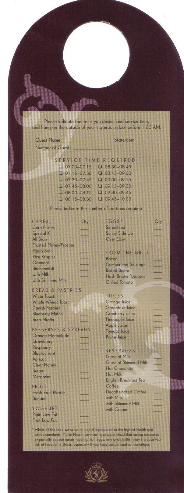 Cunard Room Service Menu