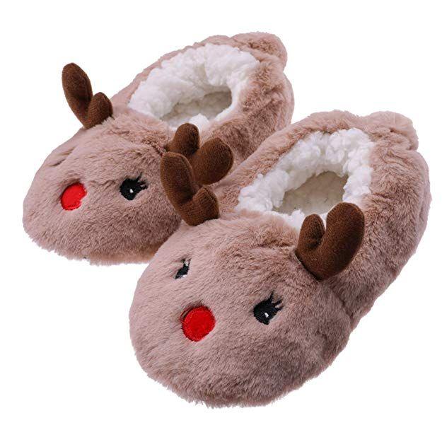 FANZERO Kids Girls Boys Slipper Socks Cute Animal Soft Warm Plush Lining Non-Slip Winter House Boot Socks