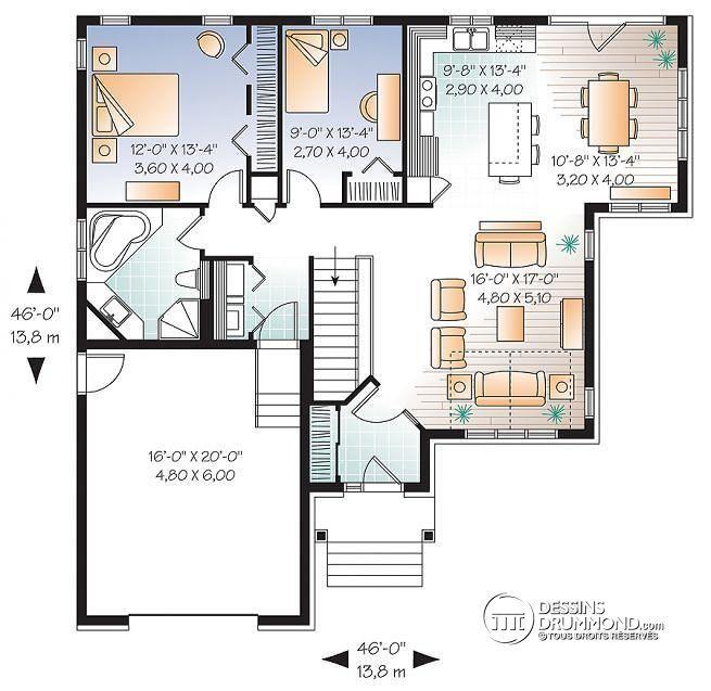 Plan de Rez-de-chaussée Plain pied de style Craftsman, 2 chambres, salle en manger solarium, sous-sol aménageable - Sylvestre
