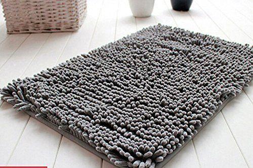 ConversancySoft Shaggy Non Slip Absorbent Bath Mat Bathroom Shower Rugs Carpet (Grey)