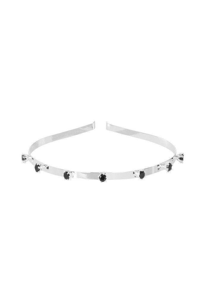 VENEZIA CROWN IN BLACK GARNET AND SILVER   Fine headband bejewelled with crown set diamond cut Black Garnet gemstones.