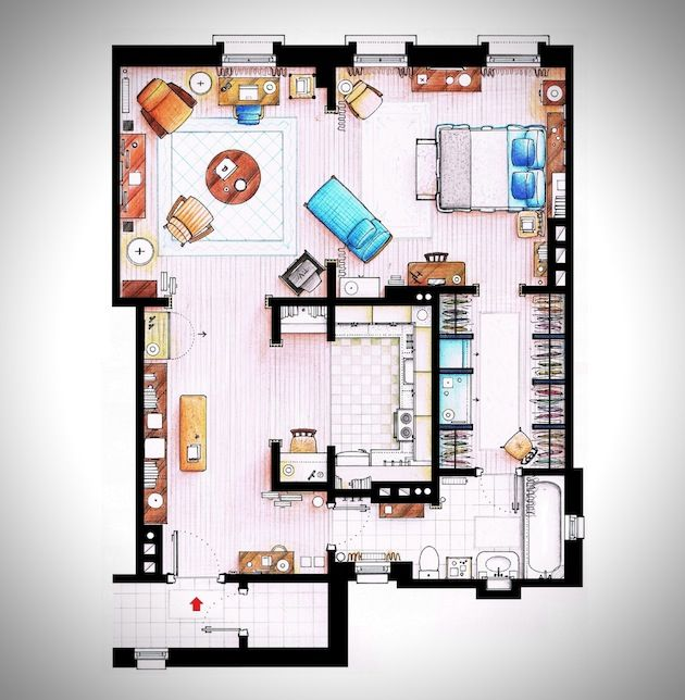 Hand rendered floor plans of your favorite tv characters for Apartment design manual