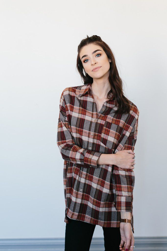 Oversized Flannel Button Down- Rust