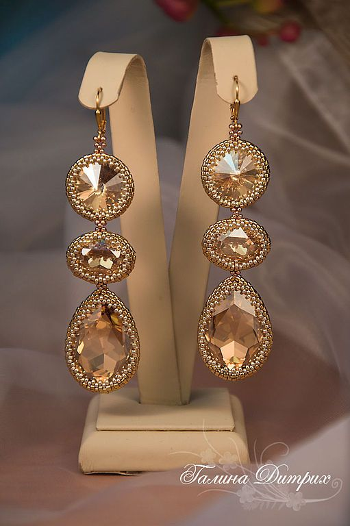 """Купить Серьги """"Golden Shadow"""" длинные золотые с кристаллами Сваровски - серьги из бисера, серьги длинные"""