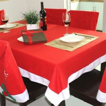 AY - hq237 Christmas Decoration Red Tablecloth Table Cover - RED