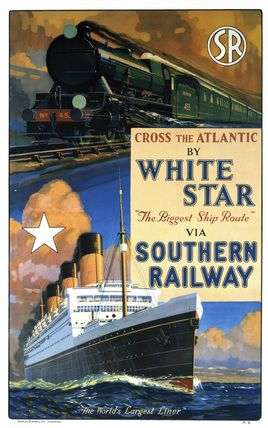 This is after the Titanic (c. 1926). Poster produced for Southern Railway (SR) to promote rail services connecting with Atlantic crossings by the 'White Star', 'the World's Largest Liner'. The poster shows an illustration of the White Star, seen from below and in perspective to convey the ship's huge size, and an illustration of an SR train above. Artwork by William McDowell.