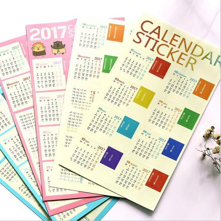 2 Pcs/Pack Kreatif 2017 Tahun Rainbow Mini Kalender Planner Stationery Dekorasi Stiker Stiker Label Indeks Kalender DIY