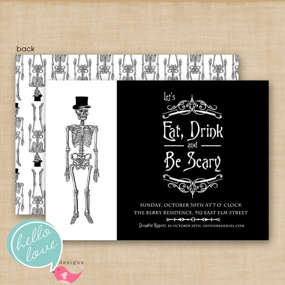 eat drink and be scary skeleton printable halloween invitation by hello love designs