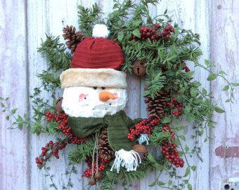 Snowman Wreath Winter Snowman Wreath Snowman Door Hanger by Keleas