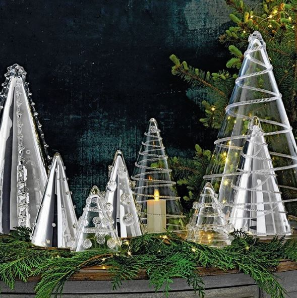 Treetops That Glisten! Make a magical holiday statement with a twinkling forest of Bohemian mouth blown glass trees.