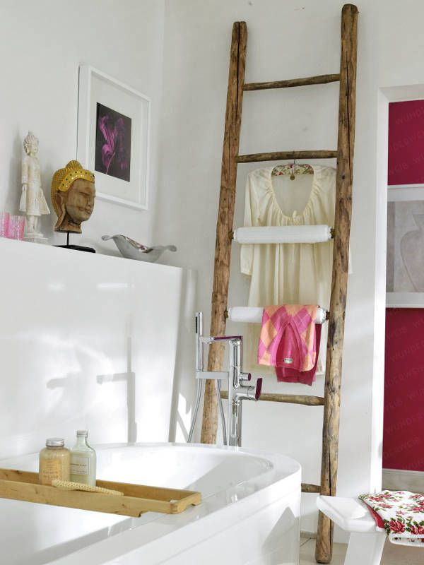 Tadelakt Badkamer Belgie ~ Landelijke badkamer, trap badkamer, houten trapje