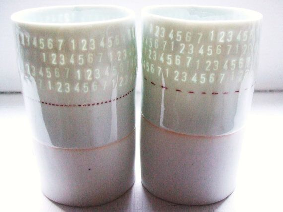 These are so cool!!! 123 Translucent porcelain cup by stepanka on Etsy, $28.00