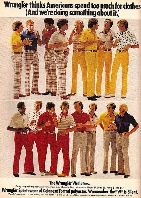 1970s Vintage Polyester Wrangler Pants Advertisement. Almost pinned this to my funny board. A man in yellow pants....what could possibly be gayer.