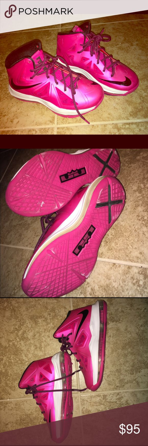 Pink Lebron 10 Breast Cancer Fireberry's 💗🖤 Pink Lebron 10 Breast Cancer Fireberry's 💗🖤 Great Condition, only worn once. If you have any questions please feel free to ask! Thank you! 😘 Nike Shoes Athletic Shoes