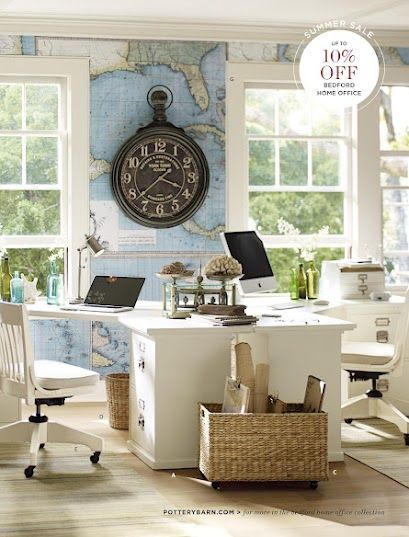 Love the travel theme of this home office