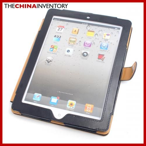 NEW APPLE IPAD 2 LEATHER CASE WITH STAND BLACK IC3701