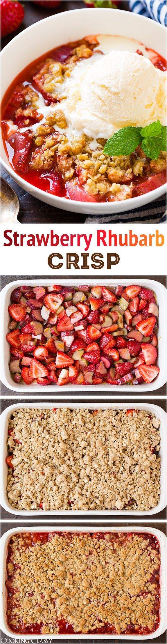 Strawberry Rhubarb Crisp - this is the perfect summer dessert! I could finish half the pan myself it's so good!!