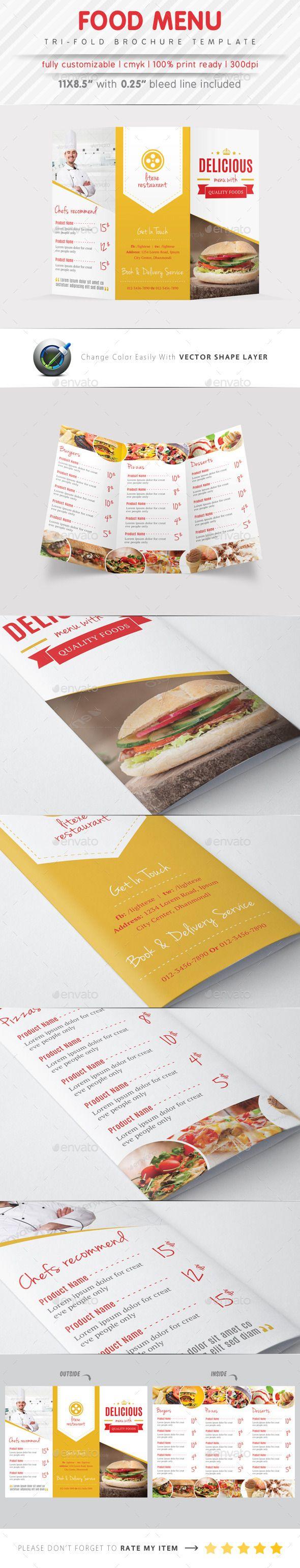 Food menu tri fold brochure tri fold brochure brochures for Menu brochure template