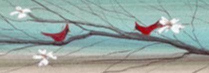 """Array of Scarlet"" 2x19"" #cardinals #cardinal #cherryblossom #appleblossom #blossom #bird #birdy #chick #spring #tree #twig #branch #ruffled #pbuckleymoss #pbm #avian #art #print #giclée #giclées #giclee #giclees #collectable #collectables #limitededition"