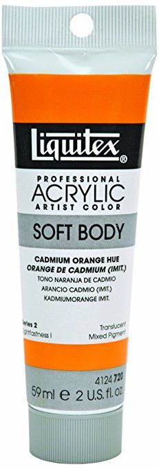 Liquitex Professional Soft Body Acrylic Paint 59 ml tube, Cadmium Orange Hue