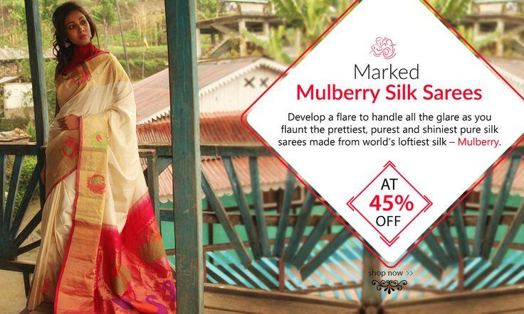Festive #MulberrySilkSarees at Festive #Discounts!