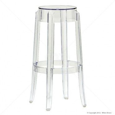 Ghost Stool Replica – 76cm – Clear - Set of 2 - Milan Direct