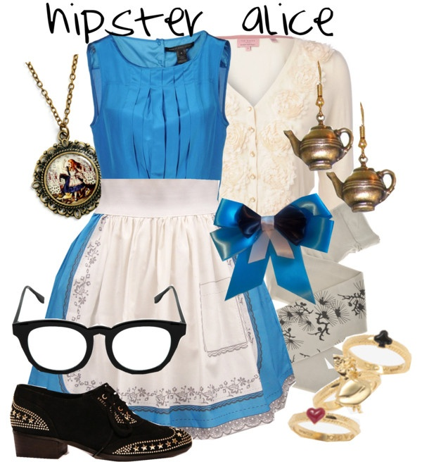 """hipster alice"" by princesschandler ❤ liked on Polyvore"