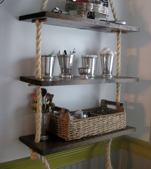 Bathroom storage ideas for small spaces rope shelving for Diy bathroom ideas for small spaces