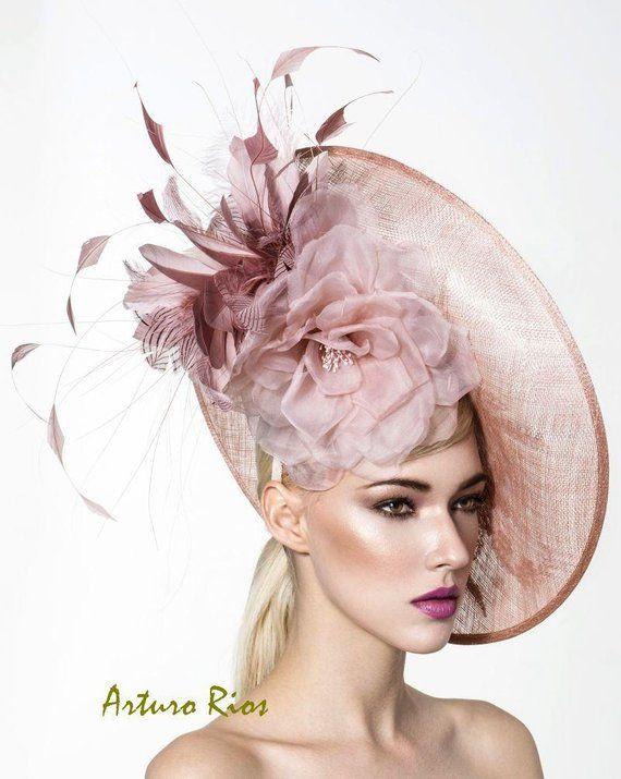 Beautiful Blush disk fascinator Kentucky derby hats Oaks day   Etsy