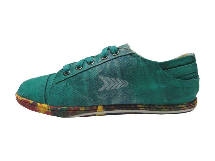 Calzado In2Go - Ref: Ind Mirror Green.  Tipo ten. Montado en Calzado Femenino - Acabado Unisex. Disponible en tallas  Masculino del 37 al 42 y Femenino del 34 al 40.