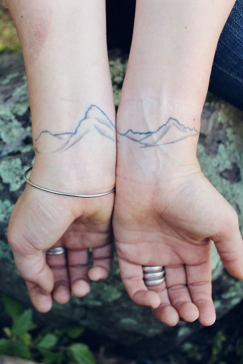 Mountain silhouette wrist tattoos
