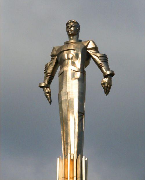 Superhero Style Statue of Soviet Cosmonaut Yuri Gagarin. Atompunk and Futuristic.