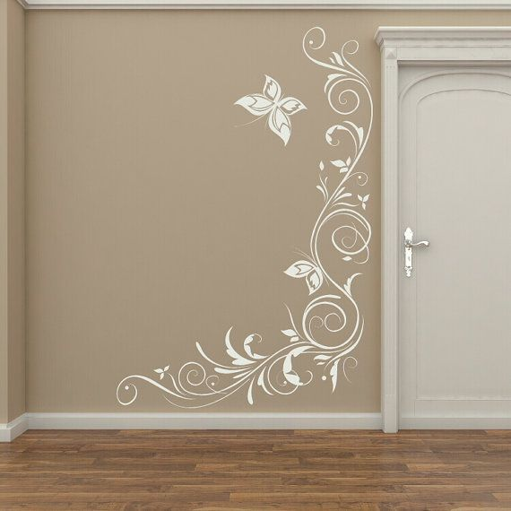 Butterfly & Flowers corner wall decal