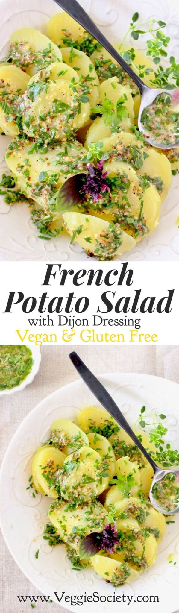 Vegan French Potato Salad Recipe with Dijon Mustard Dressing and Fresh Herbs | Healthy • Easy • Gluten-free | VeggieSociety.com @VeggieSociety
