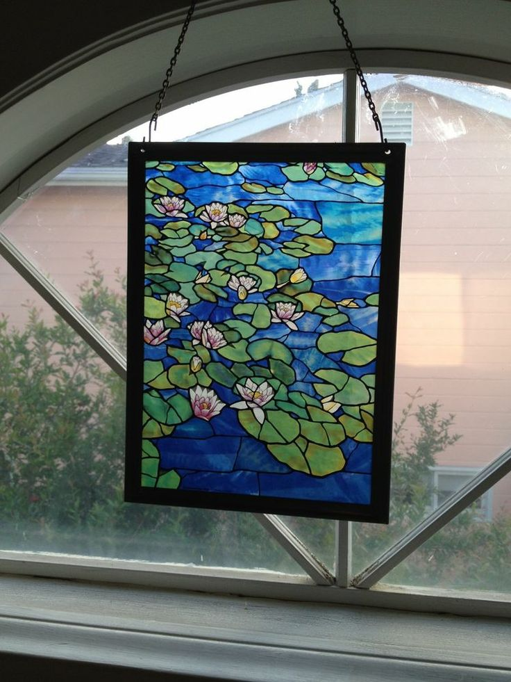 Claude Monet Lily Lilly Pond Stained Glass Suncatcher