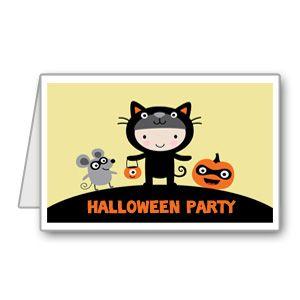 Biglietto di invito per Halloween con topolino e zucca pronto da stampare