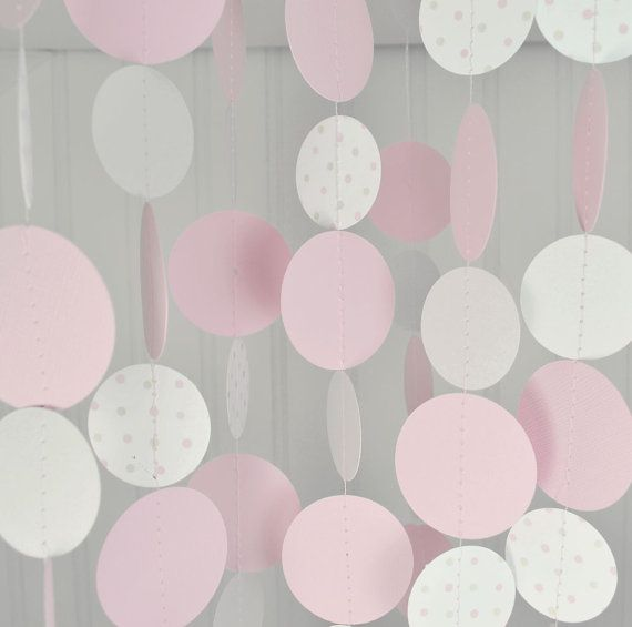Paper Circle Garland Pink and Gray Baby by sweetpeapaperthings, $20.00
