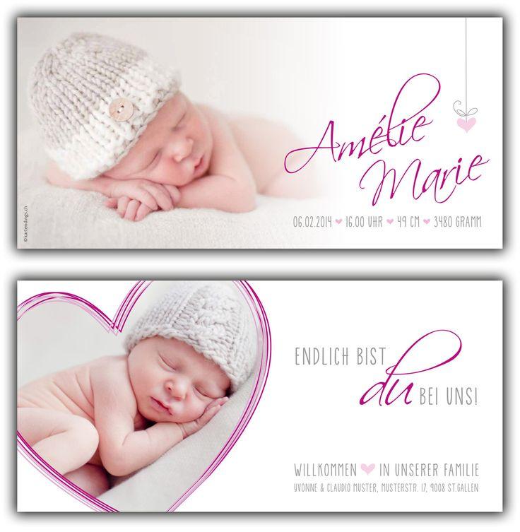 Amélie: Geburtskarte 210x100 mm // Karte ist auch in ihrer Wunschfarbe erhältlich // (©Fotos: http://www.corinnechollet.ch)